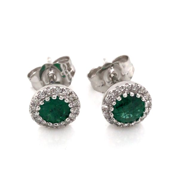 14K White Gold Stud Earrings w/ Emeralds & Diamonds(overall approx.6.2mm each) Bluestone Jewelry Tahoe City, CA
