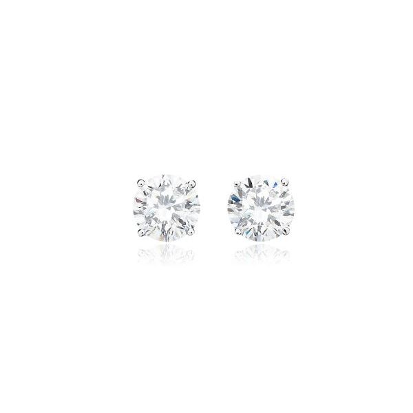Silver with Platinum Plating 5.8mm CZ Earrings Bluestone Jewelry Tahoe City, CA