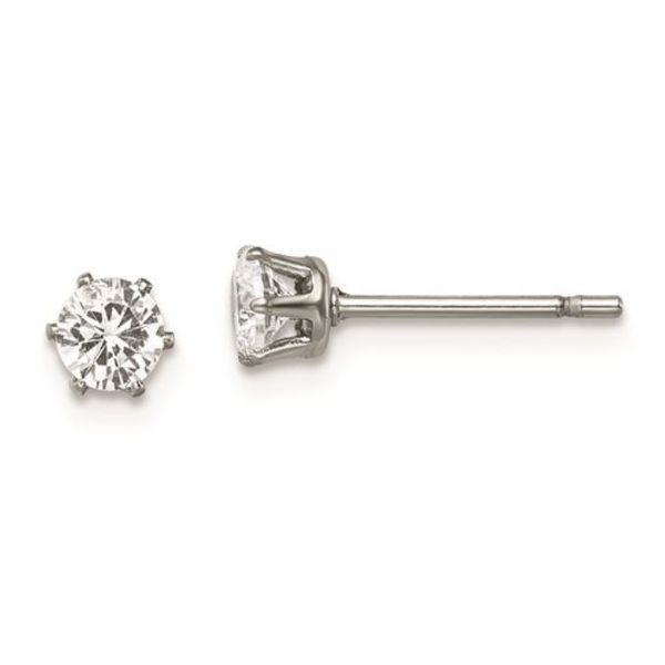 Stainless Steel Polished 4mm Round CZ Stud Post Earrings Bluestone Jewelry Tahoe City, CA