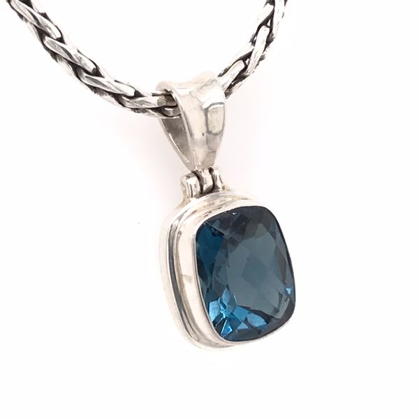 Small Silver London Blue Topaz Pendant with Chain Image 2 Bluestone Jewelry Tahoe City, CA