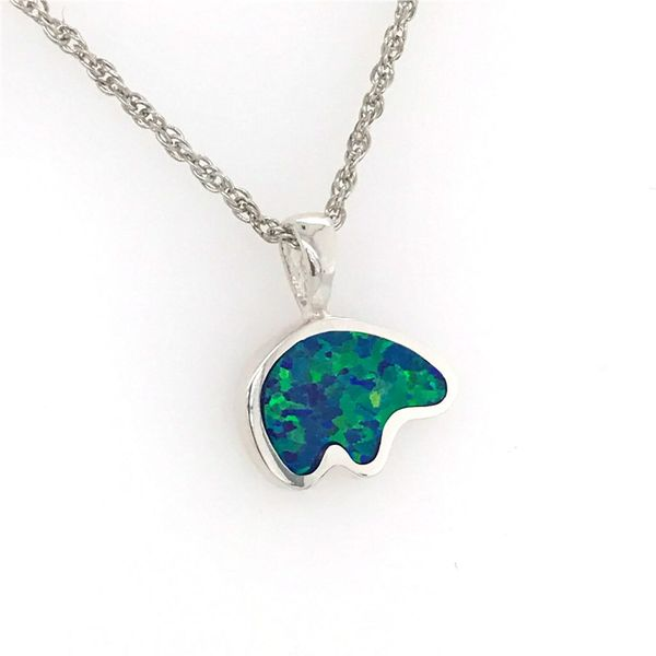 Medium Sterling Silver California Bear Pendant with a Lab Opal Inlay Image 2 Bluestone Jewelry Tahoe City, CA
