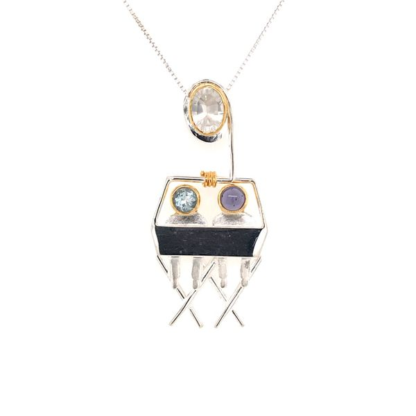 Sterling Silver and 22KT YG Chairlift Pendant with Quartz, Topaz, and Iolite Image 2 Bluestone Jewelry Tahoe City, CA
