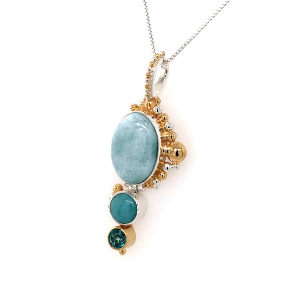 Silver & Yellow Gold Pendant with Larimar, Amezonite and Topaz Image 2 Bluestone Jewelry Tahoe City, CA