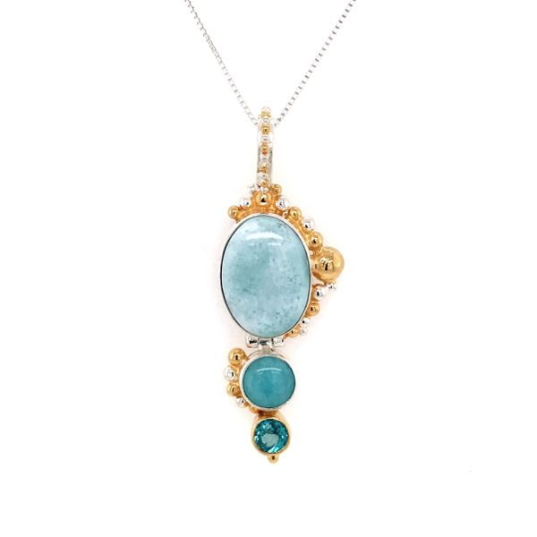 Silver & Yellow Gold Pendant with Larimar, Amezonite and Topaz Bluestone Jewelry Tahoe City, CA
