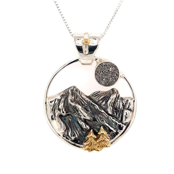 Silver and Yellow Gold Mountain Pendant with Druzy Bluestone Jewelry Tahoe City, CA