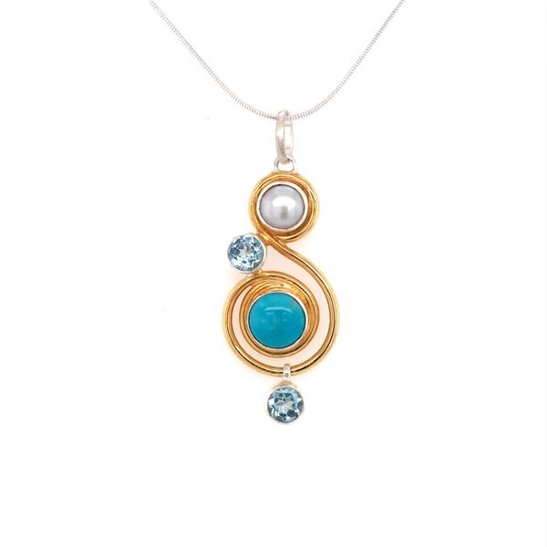 Silver and 22kt YG Pendant with Turquoise, Topaz and Pearl Bluestone Jewelry Tahoe City, CA