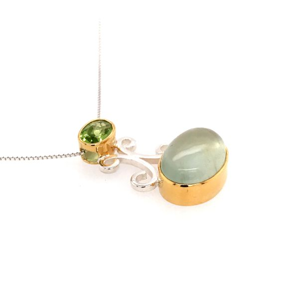 Silver and 22kt YG Pendant with Prehnite and Peridot Image 2 Bluestone Jewelry Tahoe City, CA