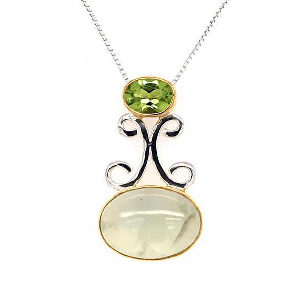 Silver and 22kt YG Pendant with Prehnite and Peridot Bluestone Jewelry Tahoe City, CA