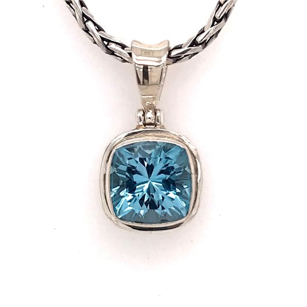Silver Pendant w/ a Small Starburst Cushion Cut London Blue Topaz Bluestone Jewelry Tahoe City, CA