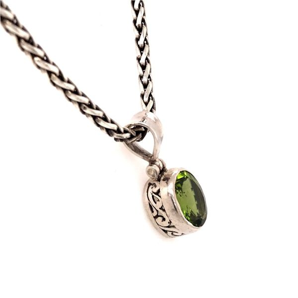 Sterling Silver Peridot Pendant with a 17 Inch Handwoven Chain Image 2 Bluestone Jewelry Tahoe City, CA
