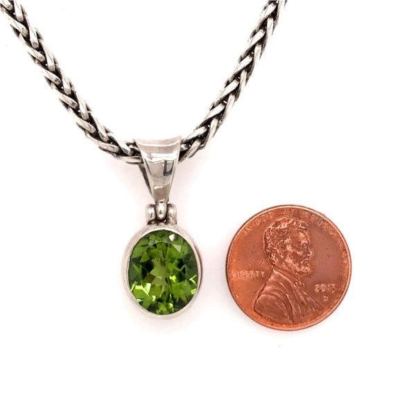 Sterling Silver Peridot Pendant with a 17 Inch Handwoven Chain Image 3 Bluestone Jewelry Tahoe City, CA