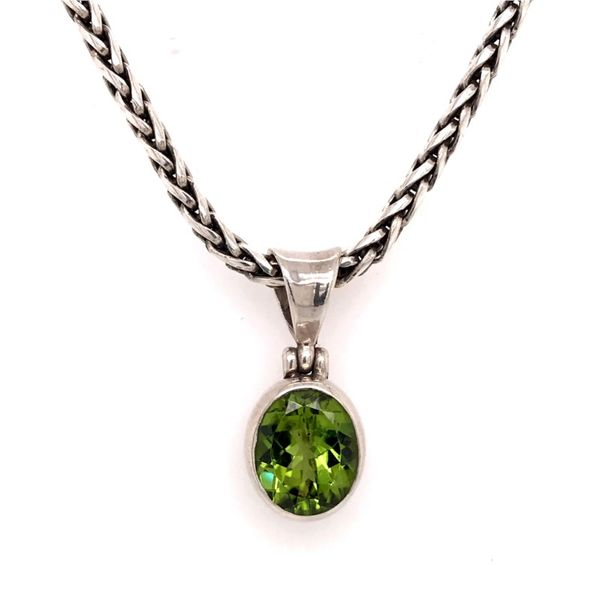 Sterling Silver Peridot Pendant with a 17 Inch Handwoven Chain Bluestone Jewelry Tahoe City, CA