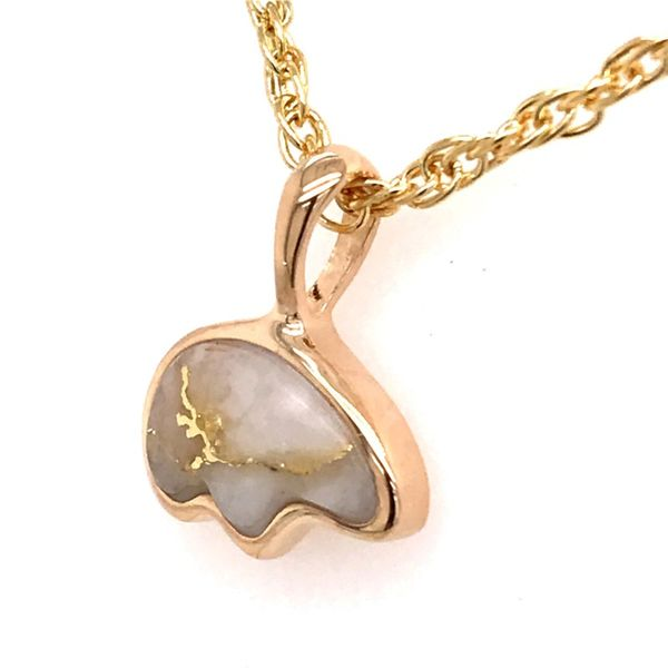 Small 14 Karat Yellow Gold Pendant with Bear shaped Gold Quartz Image 2 Bluestone Jewelry Tahoe City, CA