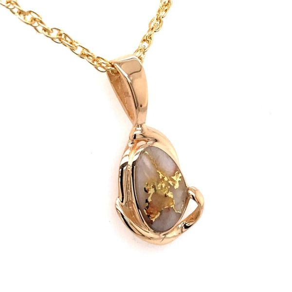 14 Karat Yellow Gold Pendant with Gold Quartz Image 2 Bluestone Jewelry Tahoe City, CA