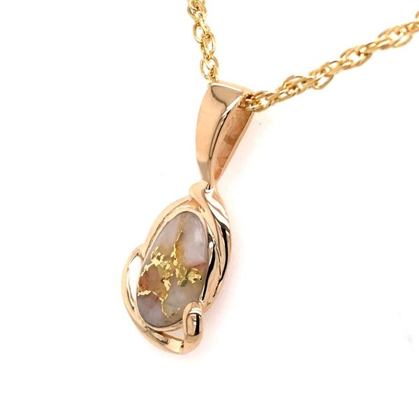 14 Karat Yellow Gold Pendant with Gold Quartz Image 3 Bluestone Jewelry Tahoe City, CA