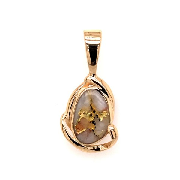 14 Karat Yellow Gold Pendant with Gold Quartz Bluestone Jewelry Tahoe City, CA