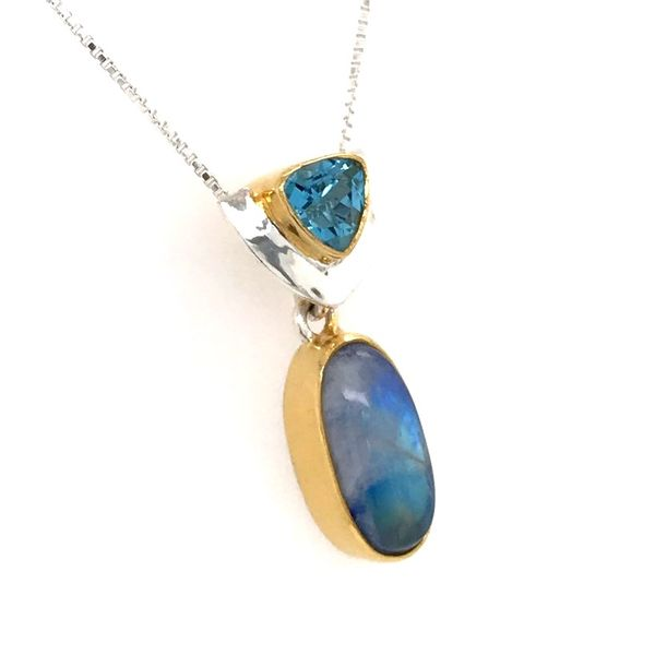 Silver & 22kt YG Pendant with Rainbow Blue Moonstone and Topaz Image 2 Bluestone Jewelry Tahoe City, CA