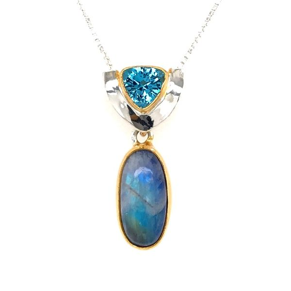 Silver & 22kt YG Pendant with Rainbow Blue Moonstone and Topaz Bluestone Jewelry Tahoe City, CA
