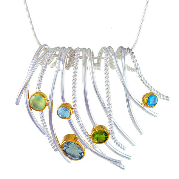 Silver & 22kt Yellow Gold Necklace with Prehnite, Topaz, Green Amethyst, Peridot Bluestone Jewelry Tahoe City, CA