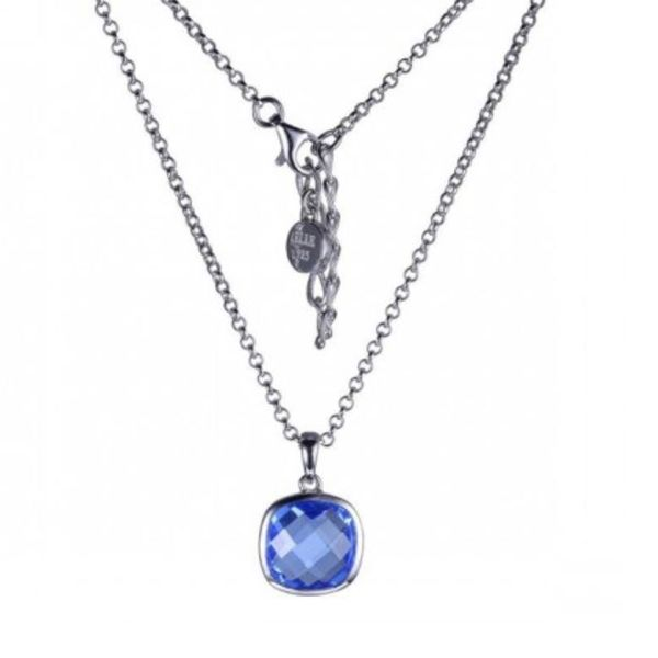 Sterling Silver Blue Quartz Necklace with Ruby Bluestone Jewelry Tahoe City, CA