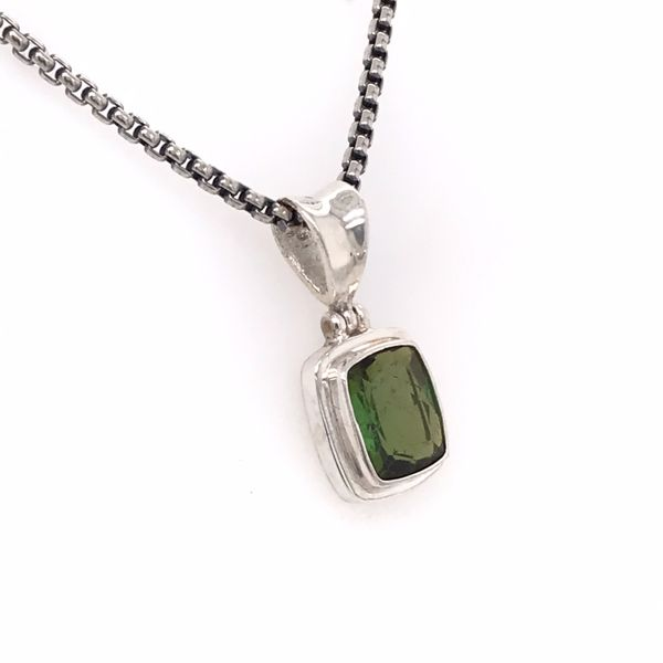 Small Sterling Silver Tourmaline Pendant on Chain Image 2 Bluestone Jewelry Tahoe City, CA