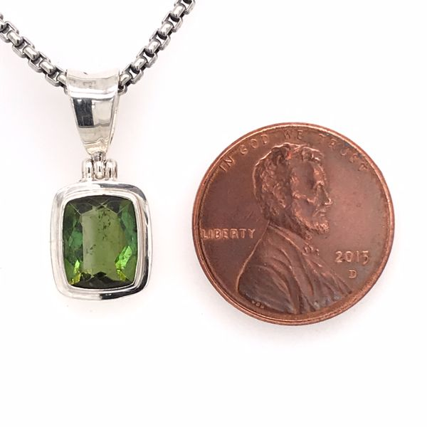 Small Sterling Silver Tourmaline Pendant on Chain Image 3 Bluestone Jewelry Tahoe City, CA