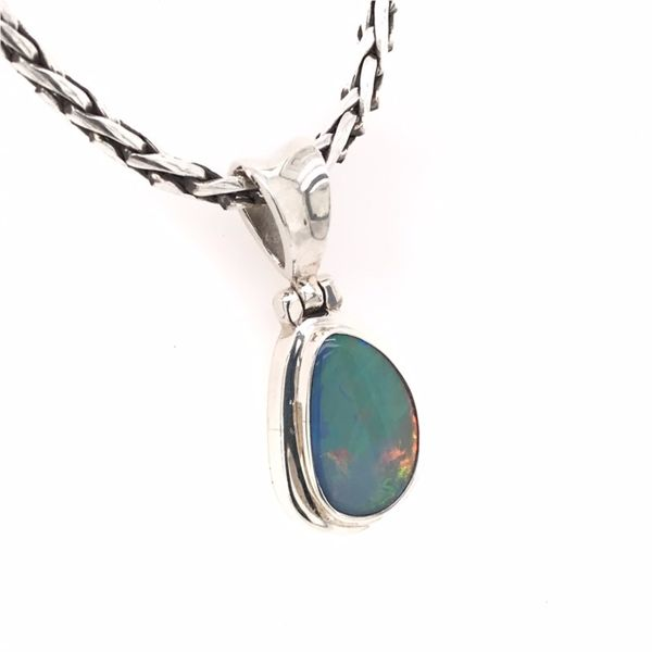 Small Sterling Silver Austrailian Opal Pendant with Chain Image 2 Bluestone Jewelry Tahoe City, CA