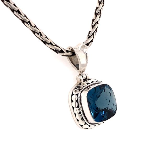 Small Silver London Blue Topaz Pendant on a Handwoven Chain Image 2 Bluestone Jewelry Tahoe City, CA