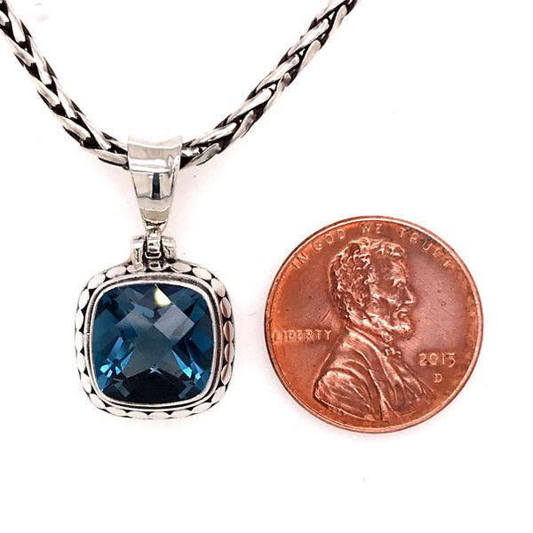 Small Silver London Blue Topaz Pendant on a Handwoven Chain Image 3 Bluestone Jewelry Tahoe City, CA
