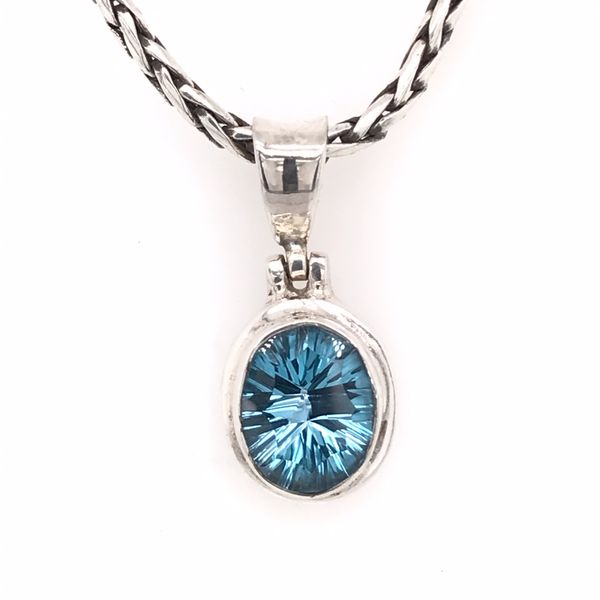 Small Silver Pendant with Topaz on Chain Bluestone Jewelry Tahoe City, CA