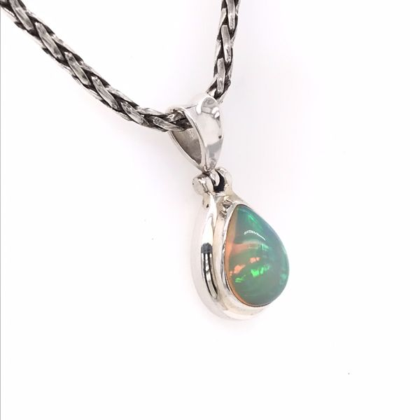Small Silver Ethiopian Opal Pendant on a Handwoven Chain Image 2 Bluestone Jewelry Tahoe City, CA