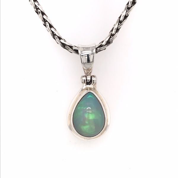 Small Silver Ethiopian Opal Pendant on a Handwoven Chain Bluestone Jewelry Tahoe City, CA