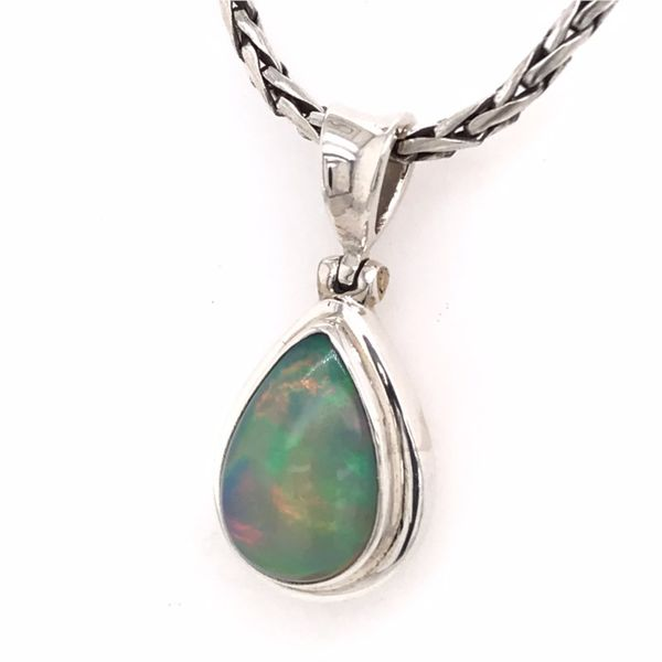 Medium Silver Ethiopian Opal Pendant on a Handwoven Chain Image 3 Bluestone Jewelry Tahoe City, CA