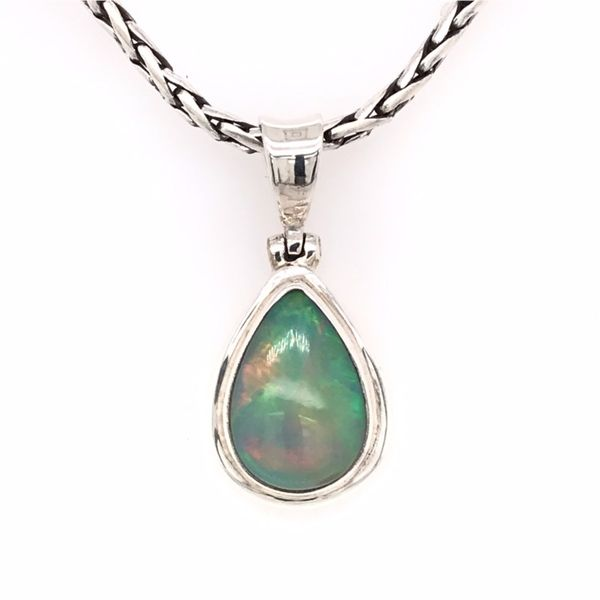 Medium Silver Ethiopian Opal Pendant on a Handwoven Chain Bluestone Jewelry Tahoe City, CA