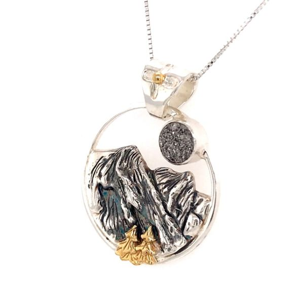 Silver and Yellow Gold Mountain Pendant with Druzy Image 2 Bluestone Jewelry Tahoe City, CA