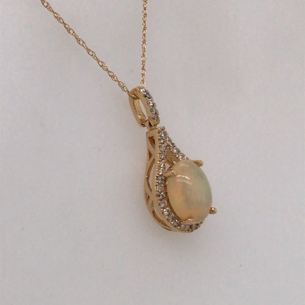 14K Yellow Gold Pendant with an Ethiopean Opal & Diamonds Image 2 Bluestone Jewelry Tahoe City, CA