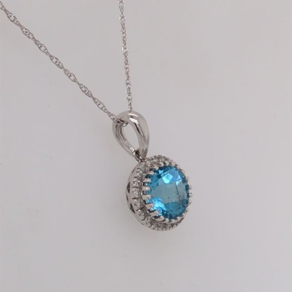 14K White Gold Pendant with a Blue Topaz and Diamonds Image 2 Bluestone Jewelry Tahoe City, CA