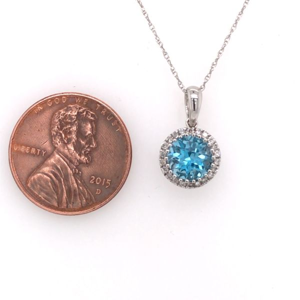 14K White Gold Pendant with a Blue Topaz and Diamonds Image 3 Bluestone Jewelry Tahoe City, CA