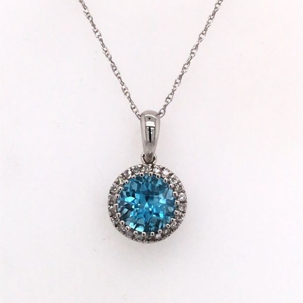 14K White Gold Pendant with a Blue Topaz and Diamonds Bluestone Jewelry Tahoe City, CA