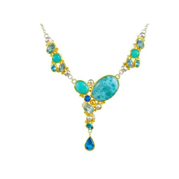 Silver & 22K Yellow Gold Necklace with Topazs, Amezonites & Larimar Bluestone Jewelry Tahoe City, CA