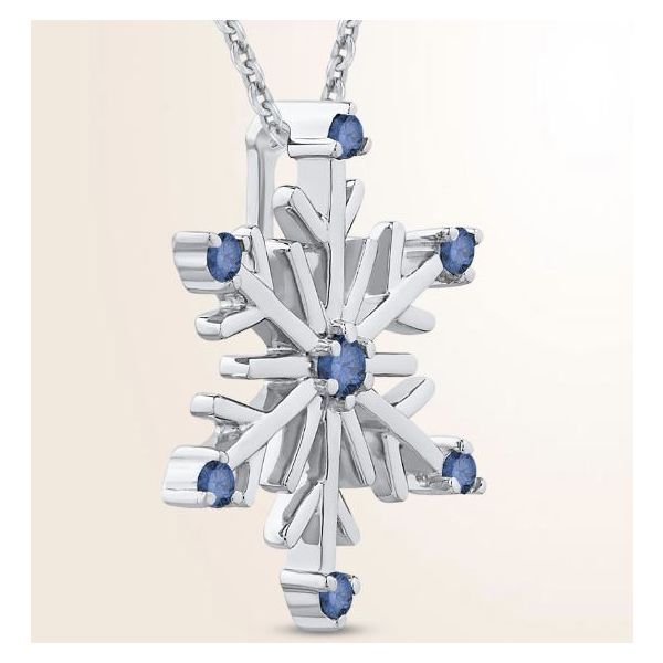 Sterling Silver Snowflake Pendant with Blue Diamonds and Chain Image 2 Bluestone Jewelry Tahoe City, CA