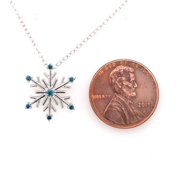 Sterling Silver Snowflake Pendant with Blue Diamonds and Chain Image 4 Bluestone Jewelry Tahoe City, CA