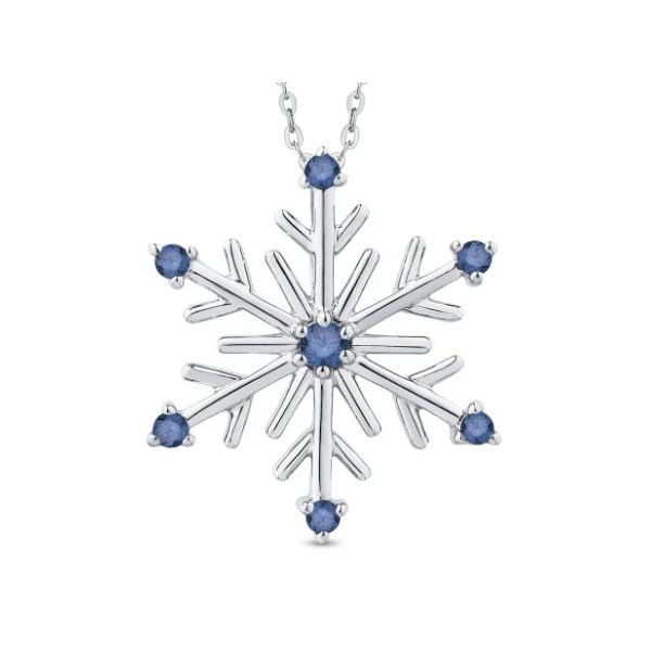 Sterling Silver Snowflake Pendant with Blue Diamonds and Chain Bluestone Jewelry Tahoe City, CA