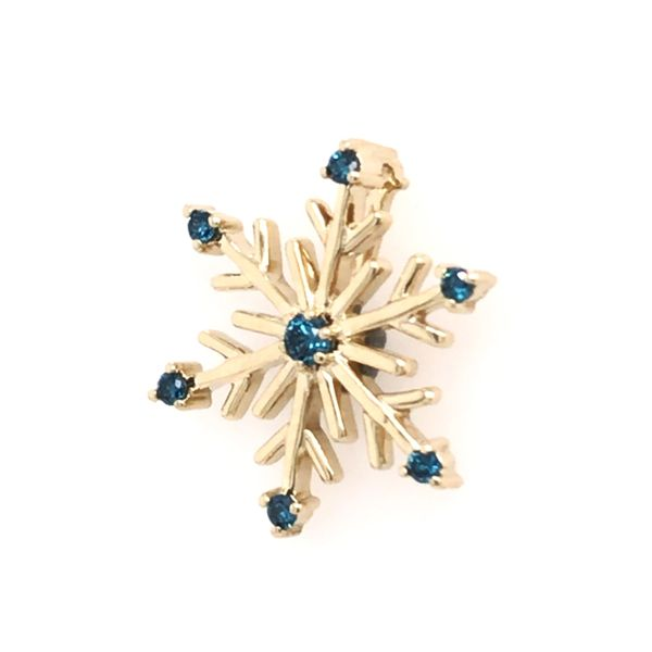 14kt Yellow Gold Snowflake Pendant with Blue Diamonds Image 2 Bluestone Jewelry Tahoe City, CA