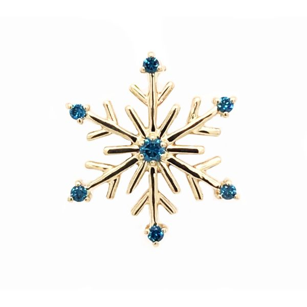14kt Yellow Gold Snowflake Pendant with Blue Diamonds Bluestone Jewelry Tahoe City, CA