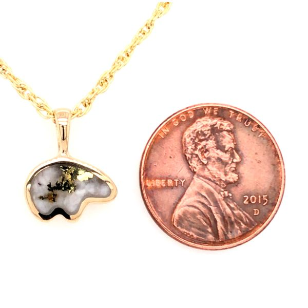 Small 14kt Yellow Gold Bear Pendant with Gold Quartz Image 2 Bluestone Jewelry Tahoe City, CA