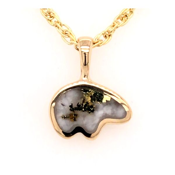 Small 14kt Yellow Gold Bear Pendant with Gold Quartz Bluestone Jewelry Tahoe City, CA