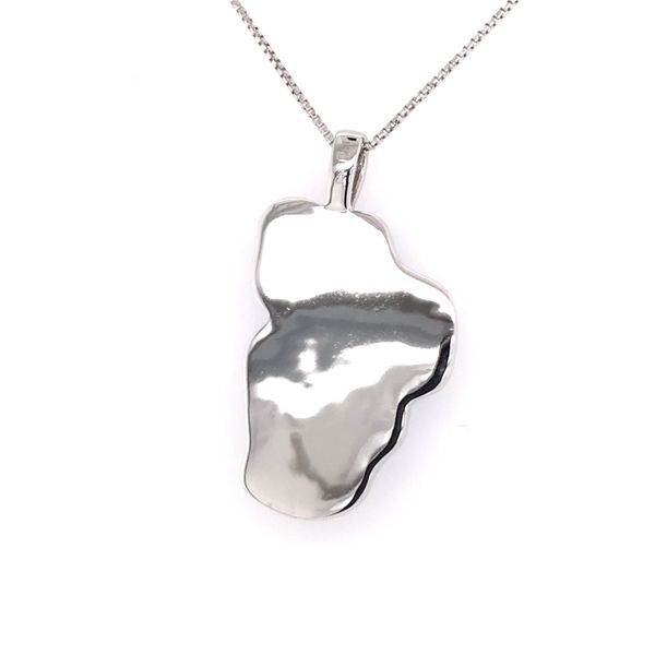 XL 14 Karat White Gold Hydro Topaz Lake Tahoe Outline Pendant with Solid Back Image 3 Bluestone Jewelry Tahoe City, CA