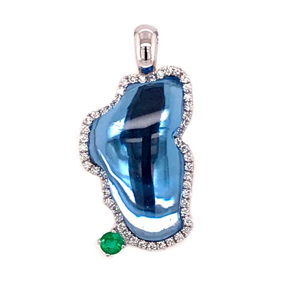 Medium 14 Karat White Gold Pendant with Hydro Topaz, Diamonds and Emerald- With Solid Back Bluestone Jewelry Tahoe City, CA