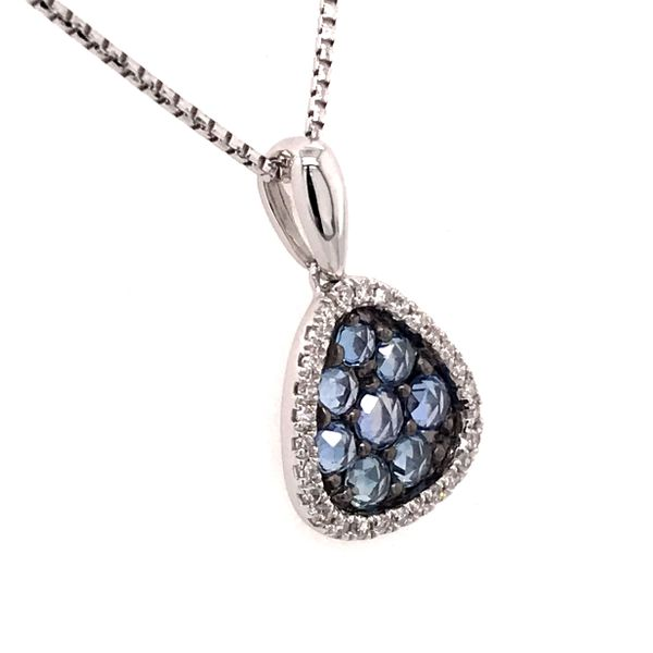 14 Karat White Gold Light Blue Sapphire and Diamond Pendant Image 2 Bluestone Jewelry Tahoe City, CA